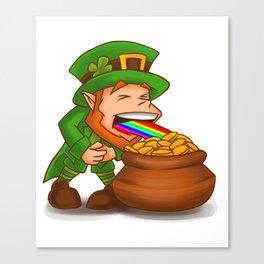 Vomiting Leprechaun St. Patricks Pot Of Gold Canvas Print