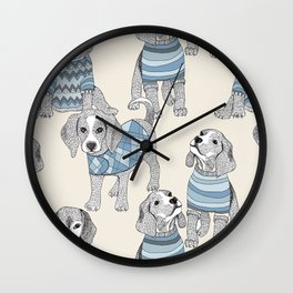 blue beagle Wall Clock