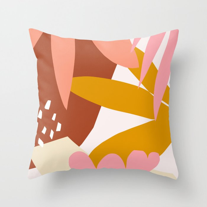 graphic leaves I Throw Pillow