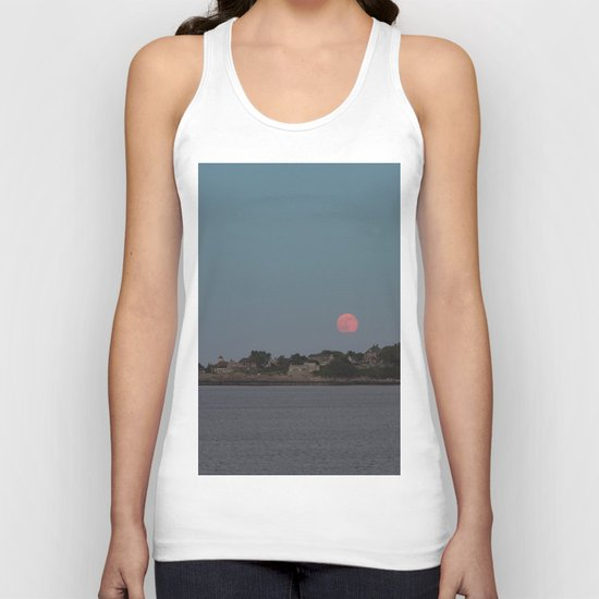 Full Strawberry Moon Rising over Rockport Unisex Tank Top