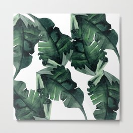 Banana Leaves Pattern Green Metal Print