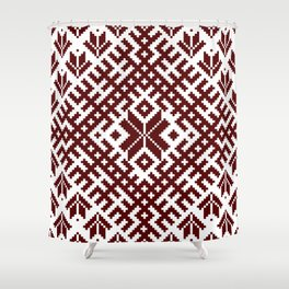 Latvian Traditional Folk Belt Design Pattern Shower Curtain