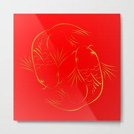 Chinese carp fish - Red and gold Metal Print