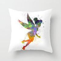 tinker bell Throw Pillows featuring Tinker bell in watercolor by Paulrommer