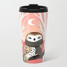 Winter Owl Metal Travel Mug
