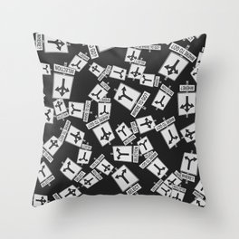 pattern with traffic signs road selection Throw Pillow