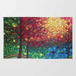 Winter sunset dot art by Mandalaole Rug