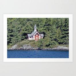St Isaac Jogues Chapel, Hecker Island (Lake George, NY) Art Print