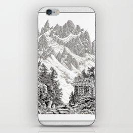 BEYOND MOUNT SHUKSAN BLACK AND WHITE VINTAGE PEN DRAWING iPhone Skin