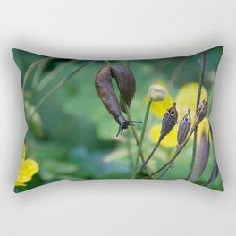 slug dancing on a poppy Rectangular Pillow