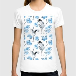 watercolor pattern with cranes and flowers of roses, lilies and lotuses T-shirt