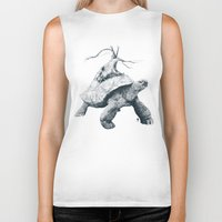 tortoise Biker Tanks featuring Tortoise Tree by Adam Dunt
