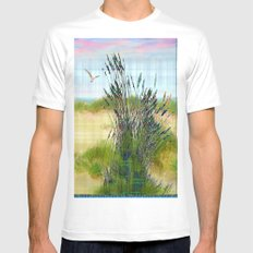 Plaid Beachscape with Seagrass White Mens Fitted Tee MEDIUM