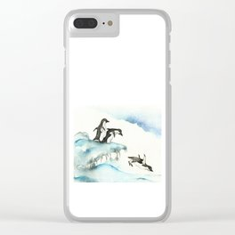 Jumping Penguins - Watercolor Clear iPhone Case