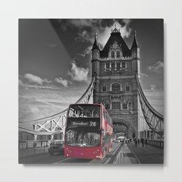 LONDON Tower Bridge & Red Bus Metal Print