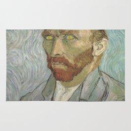 Van Gogh The Starry Night in His Eyes Self Portrait Oil Painting Rug