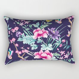Chinoiserie french navy floral Rectangular Pillow