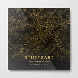 Stuttgart, Germany - Gold Metal Print