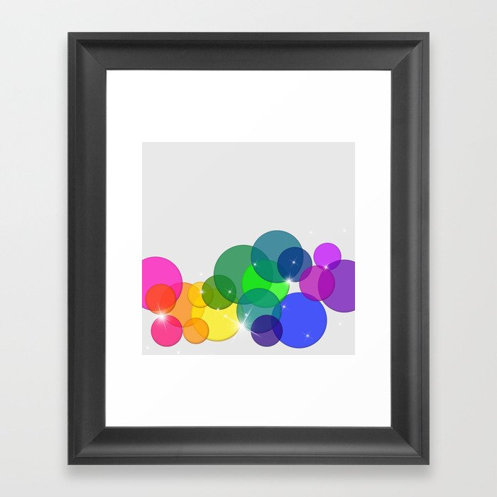 Translucent Rainbow Colored Circles with Sparkles - Multi Colored Framed Art Print