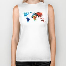 Map of The World 3 -Colorful Abstract Art Biker Tank