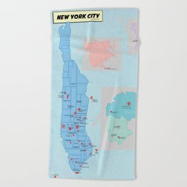 New York City- A Comic Book Tour Beach Towel