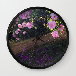 Pink roses and sunshine Wall Clock