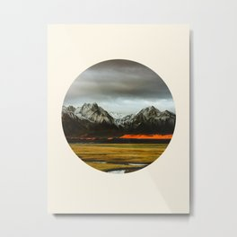 Iceland Landscape Grass Orange Sand & Grey Mountains Round Frame Photo Metal Print