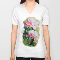 peonies V-neck T-shirts featuring Peonies by OLHADARCHUK