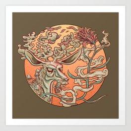 Deer Smoke & Indian Paintbrush Art Print