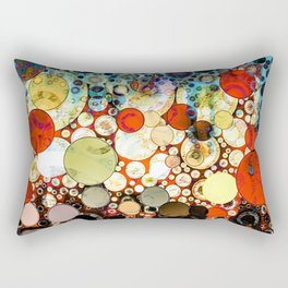 Contemporary Blue Orange Bubble Abstract Rectangular Pillow