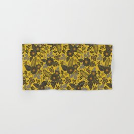 Mustard Yellow, Blue-Gray & Red Floral/Botanical Pattern Hand & Bath Towel