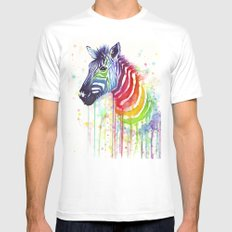 Zebra Watercolor Rainbow Animal Painting Ode to Fruit Stripes White X-LARGE Mens Fitted Tee
