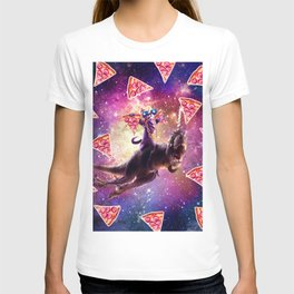 Thug Space Cat On Dinosaur Unicorn - Pizza T-shirt