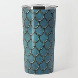 Turquoise Gold Mermaid Scales Travel Mug