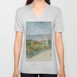 Vegetable Gardens at Montmartre by Vincent van Gogh Unisex V-Neck