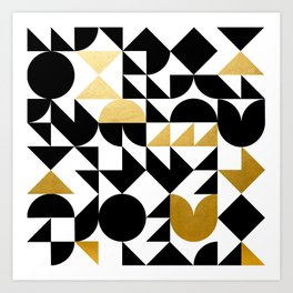 geometric black & gold Art Print