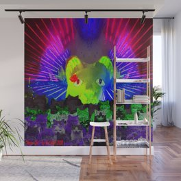 Neon Cat Laser Light Show Wall Mural