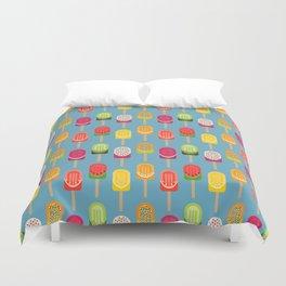 Fruit popsicles - blue version Duvet Cover