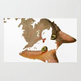 I'm All Ears - Cute Calico Cat Portrait Rug