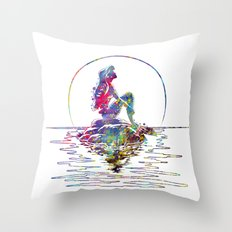 The Little Mermaid Ariel Silhouette Watercolor Throw Pillow
