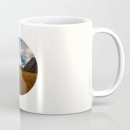 Mid Century Modern Round Circle Photo Graphic Design Autumn Fields With Steep Mountains Coffee Mug