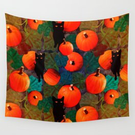 Pumpkins and Black Cats Wall Tapestry
