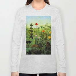 "Henri Rousseau ""Exotic Landscape with Lion and Lioness in Africa"", 1903-1910 Long Sleeve T-shirt"