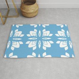 Art Deco Summer Flowers Scandinavian Blue Rug