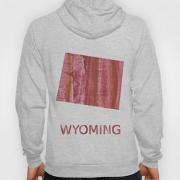 Wyoming map outline Indian red stained wash drawing Hoody