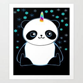 Pandacorn in the Darkness and the Snow Art Print