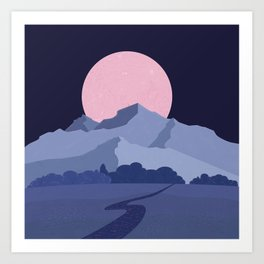 Pink moon abstract night landscape Art Print