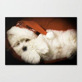 Sleepy Santa Puppy Canvas Print