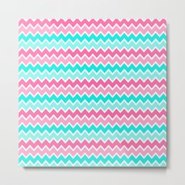Turquoise Aqua Blue and Hot Pink Ombre Chevron Metal Print