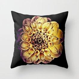 Golden Dahlia Mandala Throw Pillow